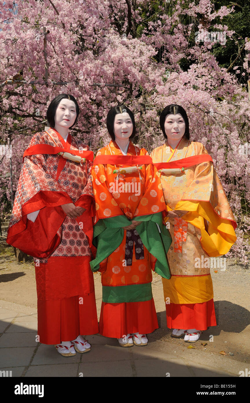 Japanese Women In The Dress Of The Heian Period At The