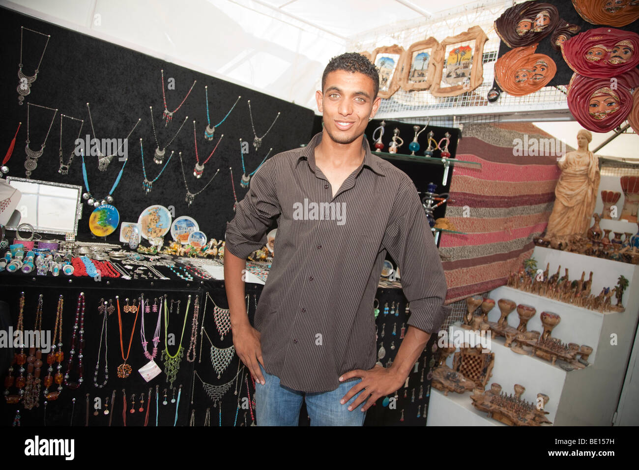 A shop in Carthage, Tunisia sells local handicrafts to tourists. - Stock Image