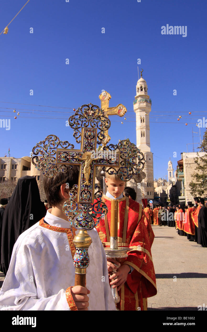 bethlehem the greek orthodox christmas procession in manger square stock image
