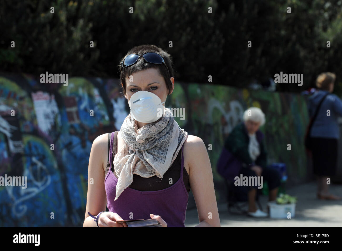 Vegetarian Week in Warsaw, Poland. Happening concerning swine flu, factory farming and a way to avoid illness - - Stock Image