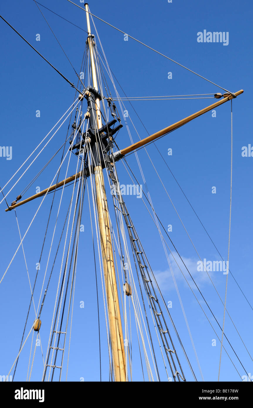 Rigging on HMS Pickle was a 10-gun topsail schooner of the Royal Navy. Rigging on a Amlwch Harbour, Anglesey, - Stock Image