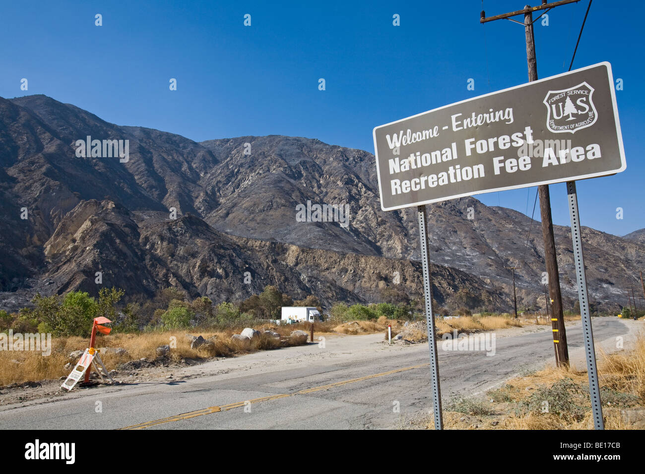 Devastation from Station fire, Sept 5 2009. Big Tujunga Canyon Road, Los Angeles, California ,USA - Stock Image