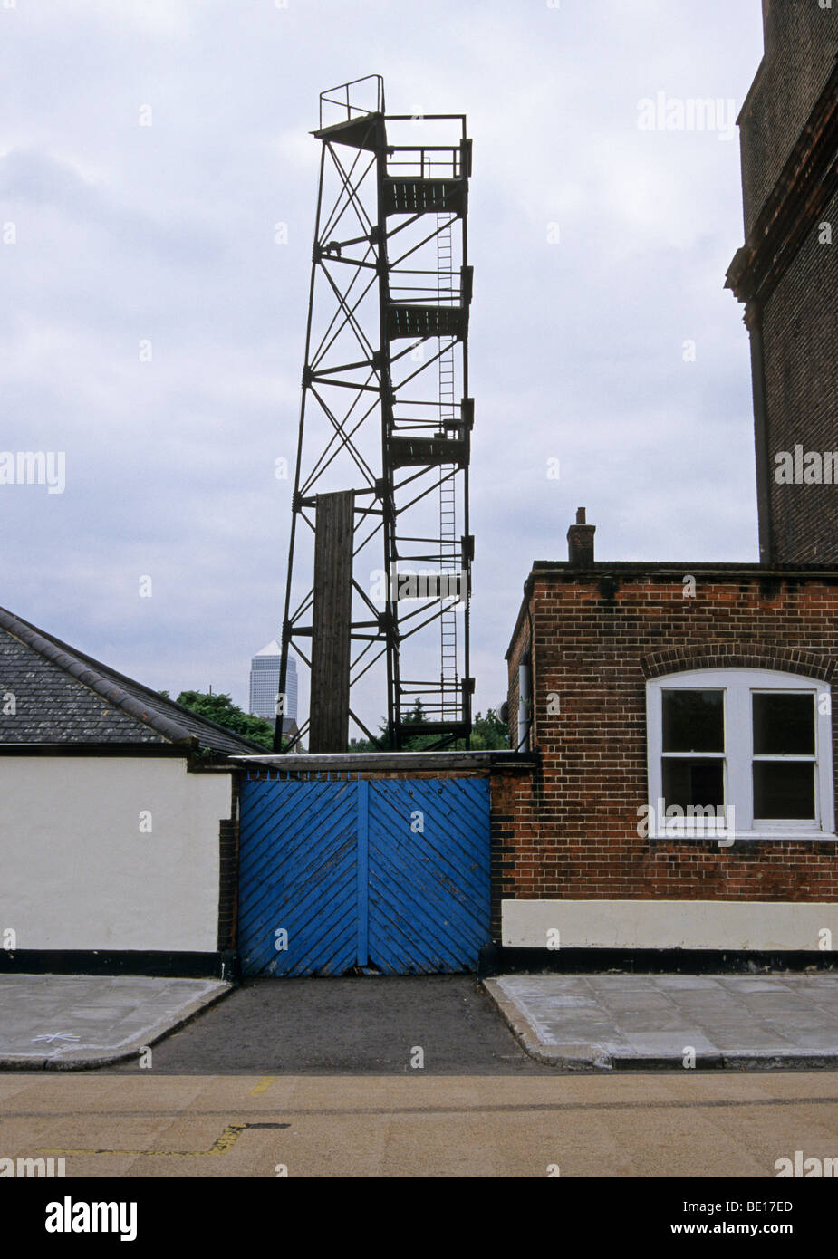 old fire brigade station Millwall westferry road London England - Stock Image