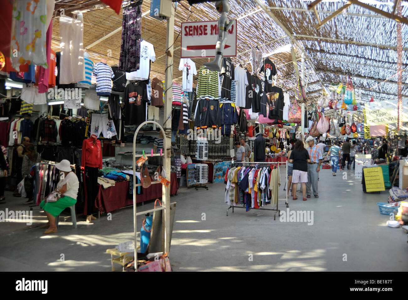 Bazaar with faked clothes near Kusadasi Turkey - Stock Image