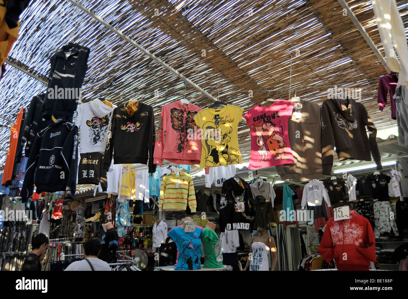 bazaar with faked clothes near kusadasi turkey stock photo