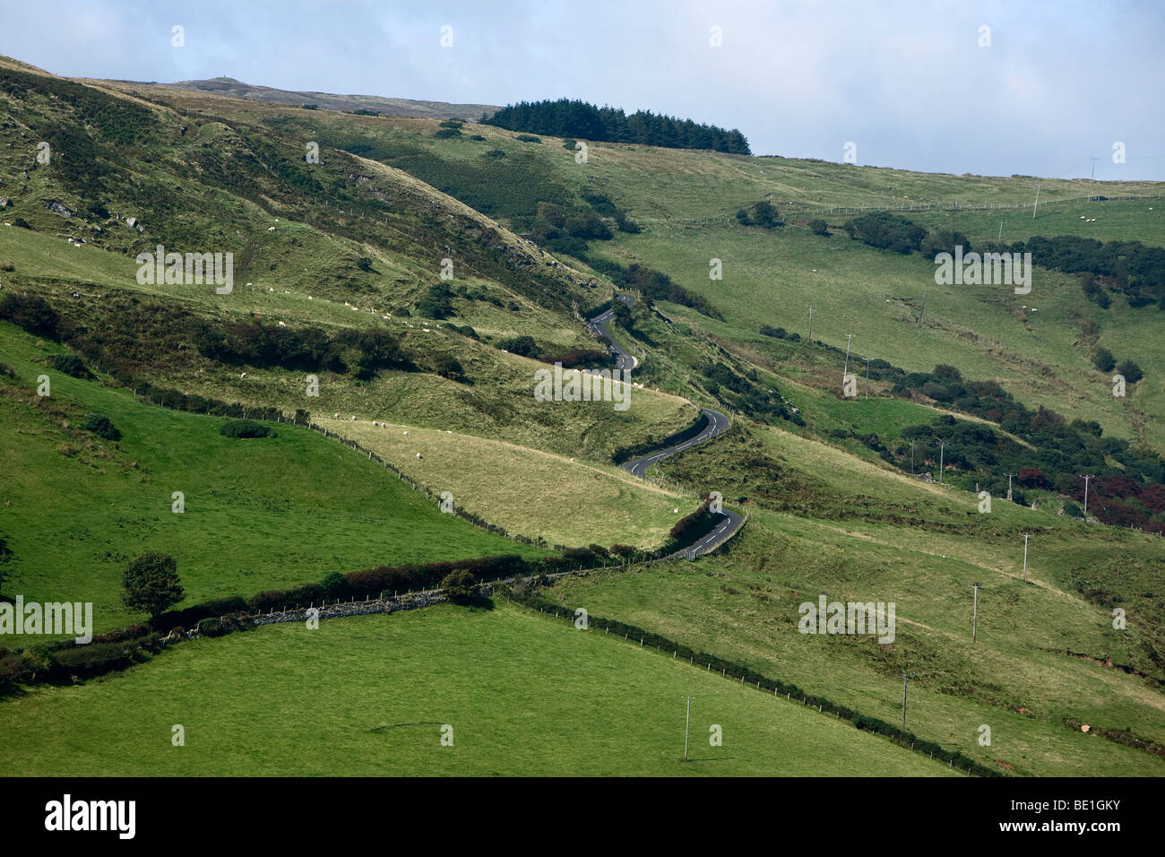Winding Country Road, Torr Head, County Antrim, Northern Ireland - Stock Image