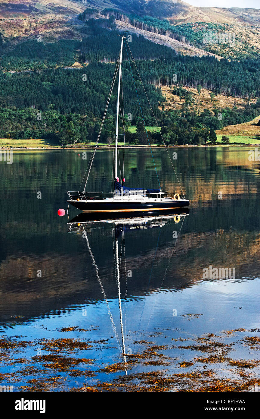 Yacht moored on Loch Leven - Stock Image