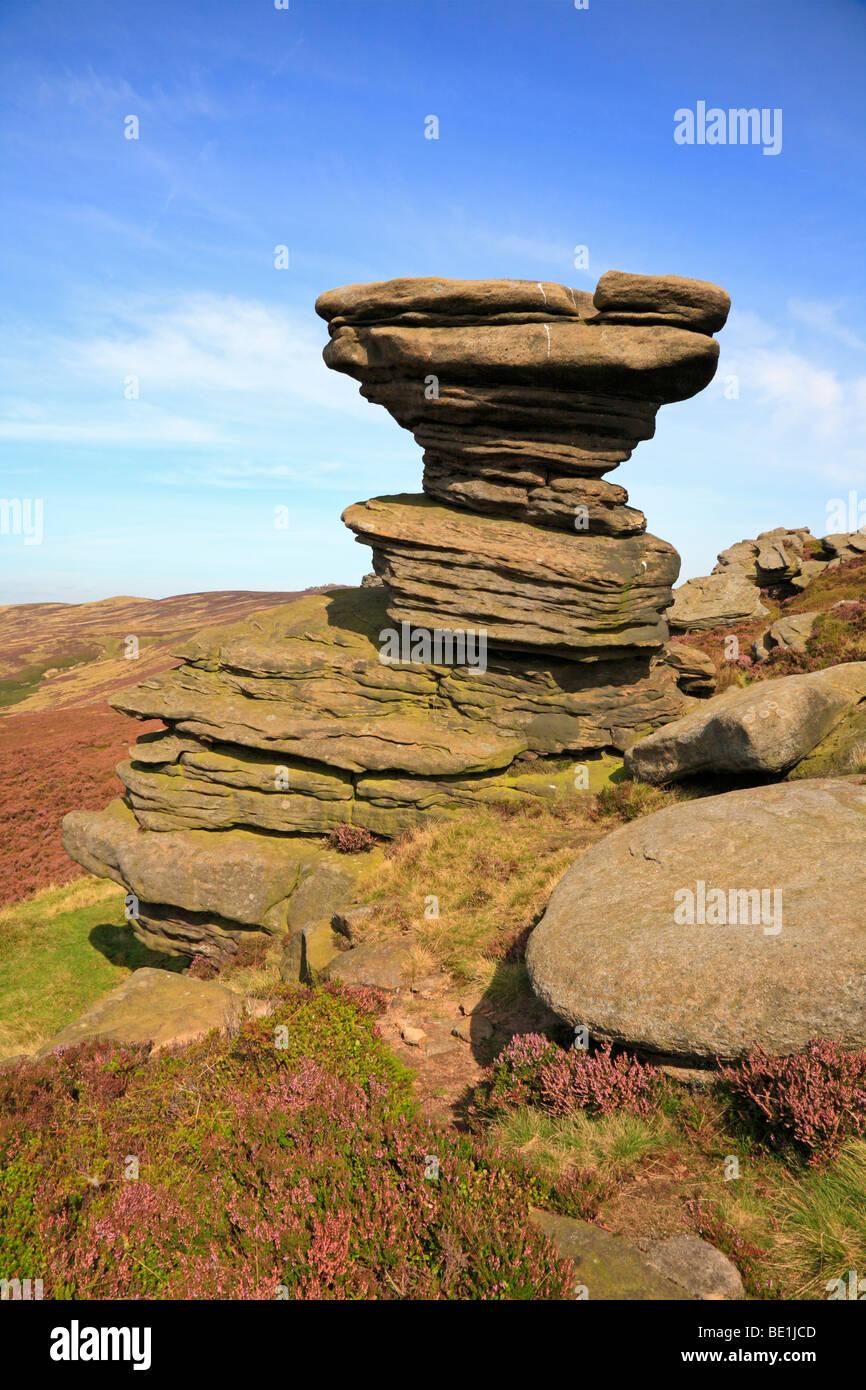 Salt Cellar rock formation on Derwent Edge in the Upper Derwent Valley, Derbyshire, Peak District National Park, - Stock Image