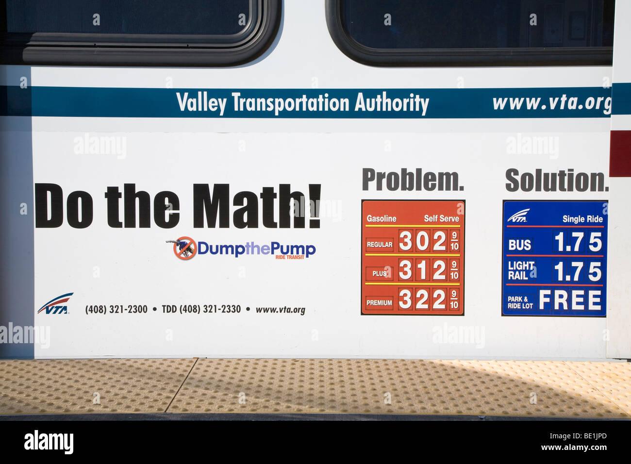 Mass transit promotional advertising on a side of a VTA light rail