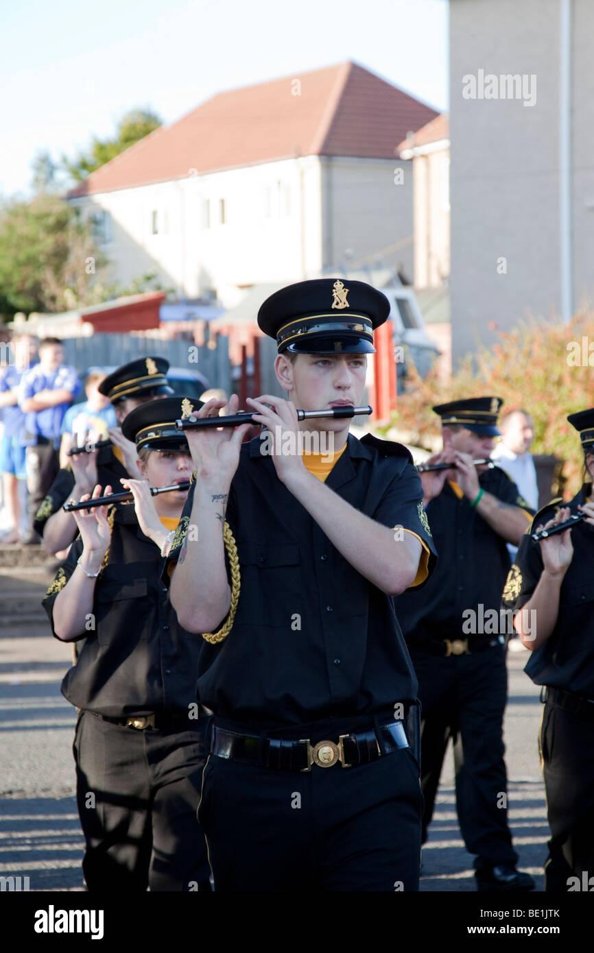 Kilwinning Abbey Star Flute Band (Loyalist/Protestant) on parade in Kilwinning, North Ayrshire, Scotland, UK - Stock Image
