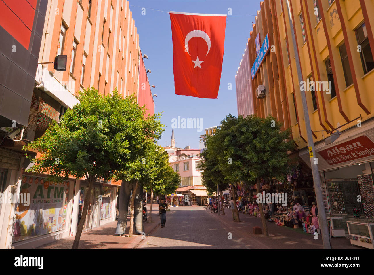 Turkish flag flying in the city of Alanya in southern Mediterranean Turkey - Stock Image