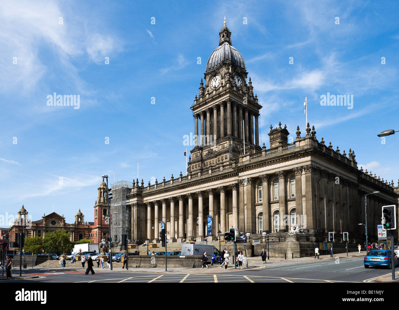 Leeds Town Hall designed by the local architect Cuthbert Brodrick, Leeds, West Yorkshire, England - Stock Image