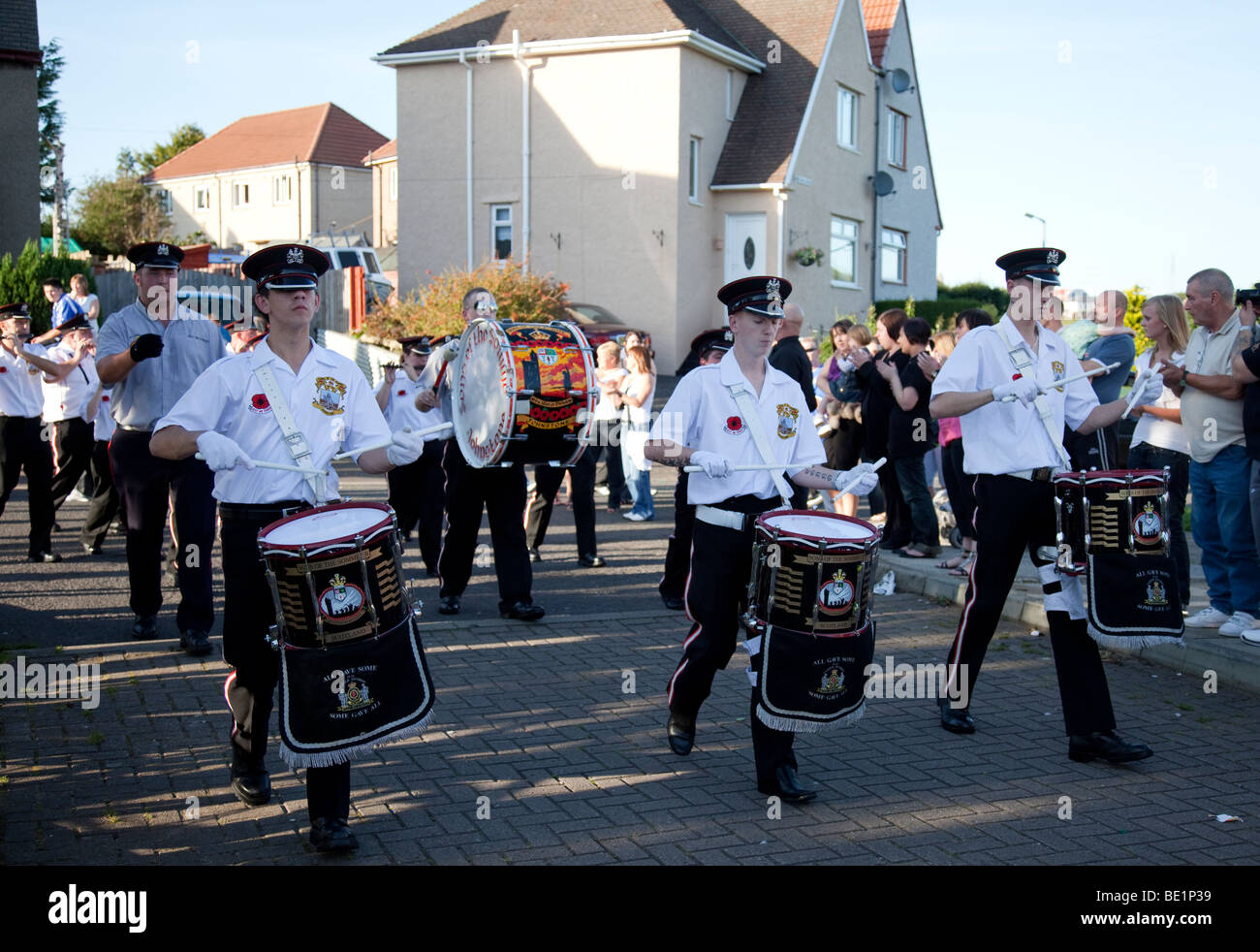 Loyalist Marching Band in Kilwinning, Ayrshire, Scotland - Stock Image