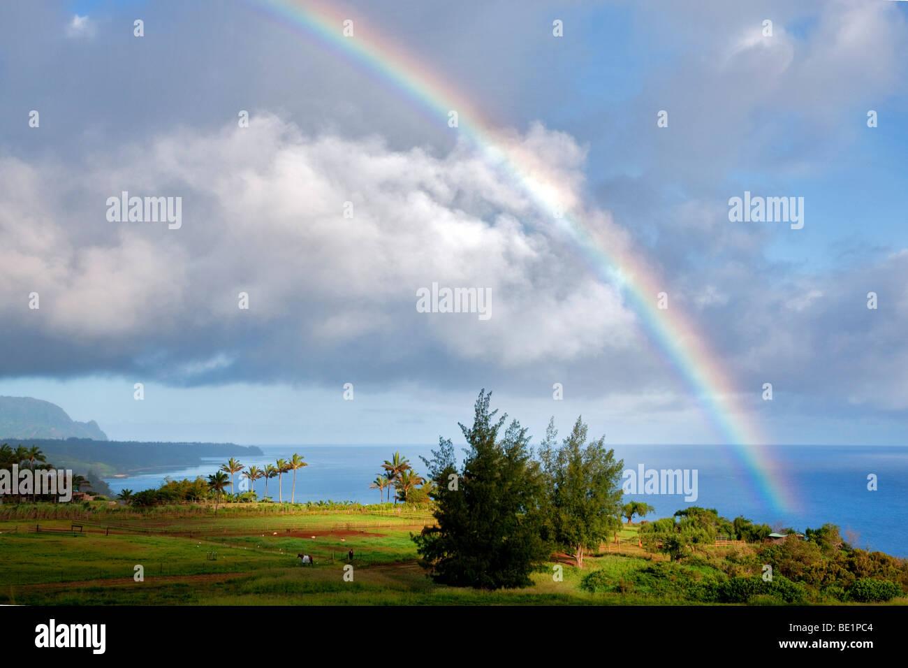 Rainbow at Kilauea Point, Kauai, Hawaii. - Stock Image