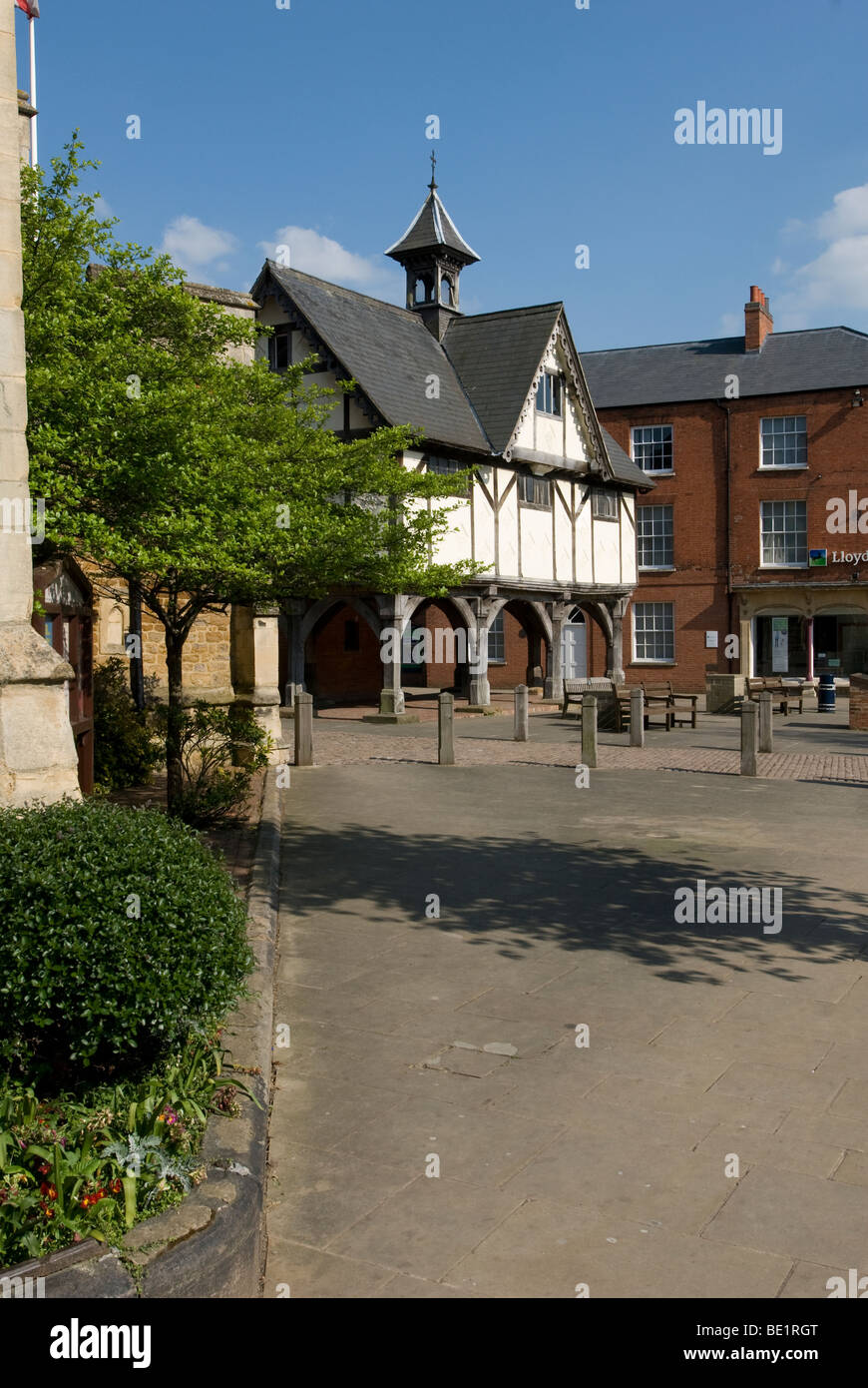 The old grammar school in the centre of Market Harborough, Leicestershire - Stock Image