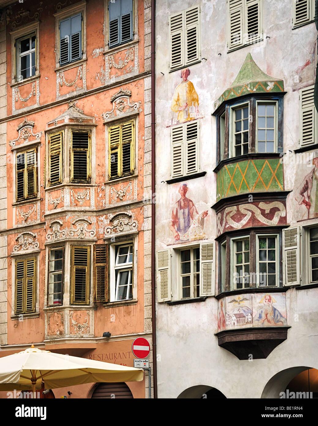 Painted facades, Bolzano Bozen - Stock Image