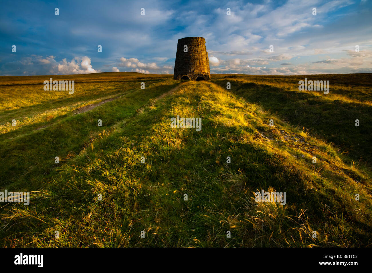 England, Northumberland, North Pennines. The remains of an old smelting flue on Dryburn Moor near Allendale. - Stock Image