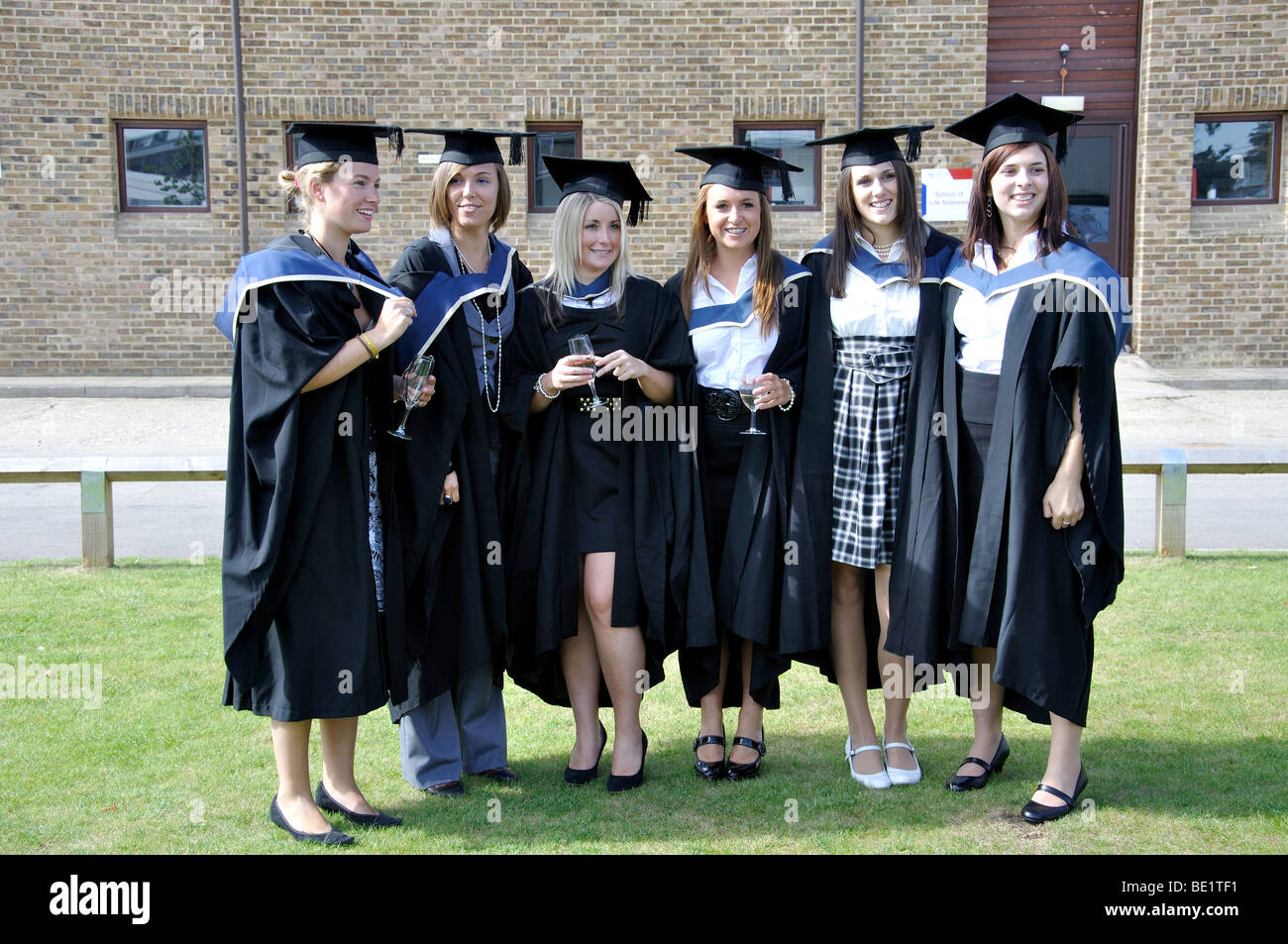 Female university graduates at graduation ceremony, Oxford Brookes ...