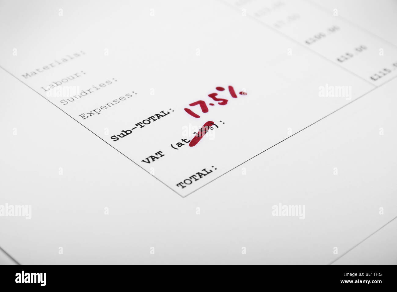 Invoice showing VAT increase - Stock Image