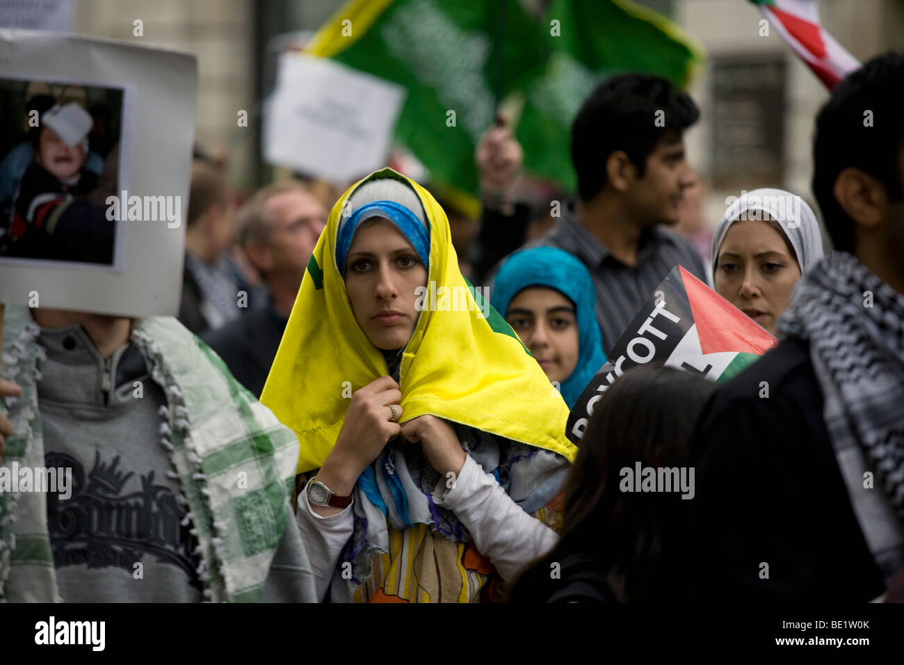 Al Quds demonstration against the state of Israel, held in London on September 13, 2009. - Stock Image