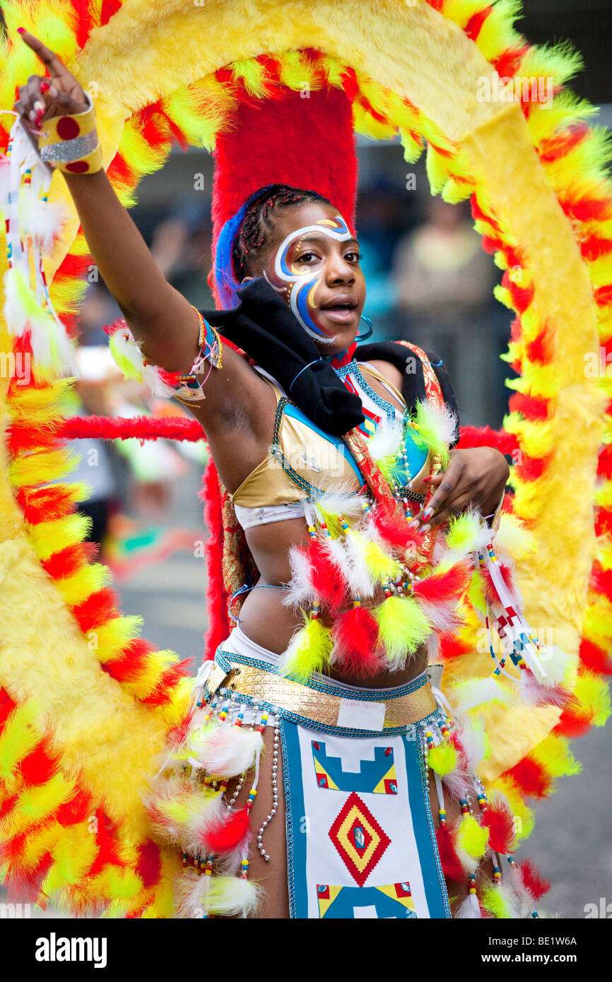 A young performer at The Notting Hill Carnival in London - Stock Image