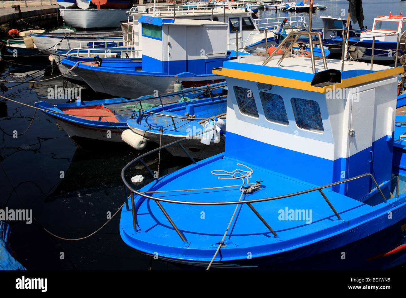 Fishing boats moored in Palermo Sicily Italy - Stock Image
