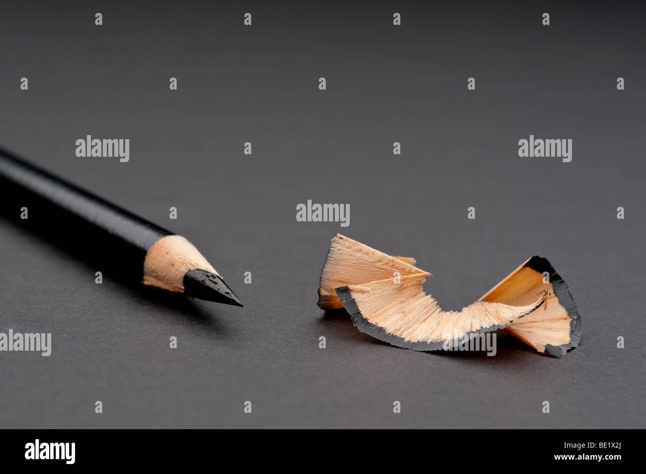 Horizontal close up of a sharpened black pencil with shavings - Stock Image