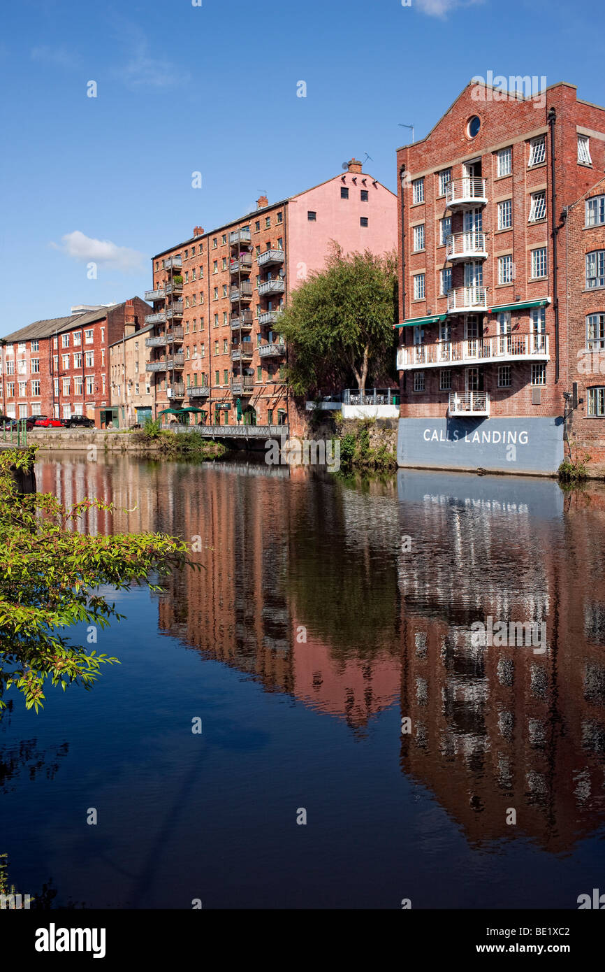 Leeds City Centre, commercial and residential buildings including Calls Landing, converted from warehouses on the - Stock Image