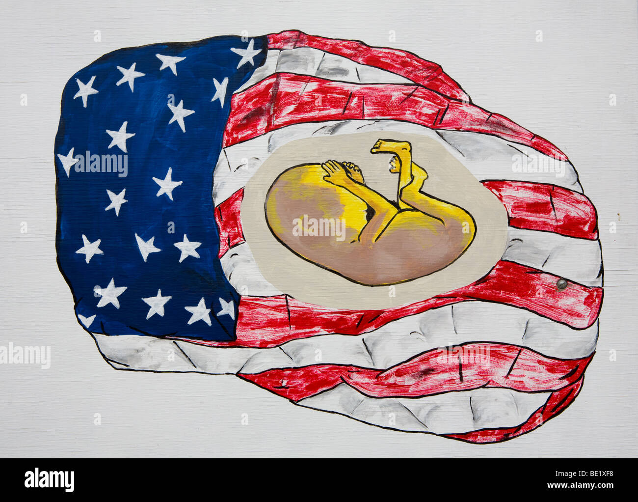 An anti abortion sign 'Save the Unborn' fetus in a flag in Enterprise Oregon - Stock Image