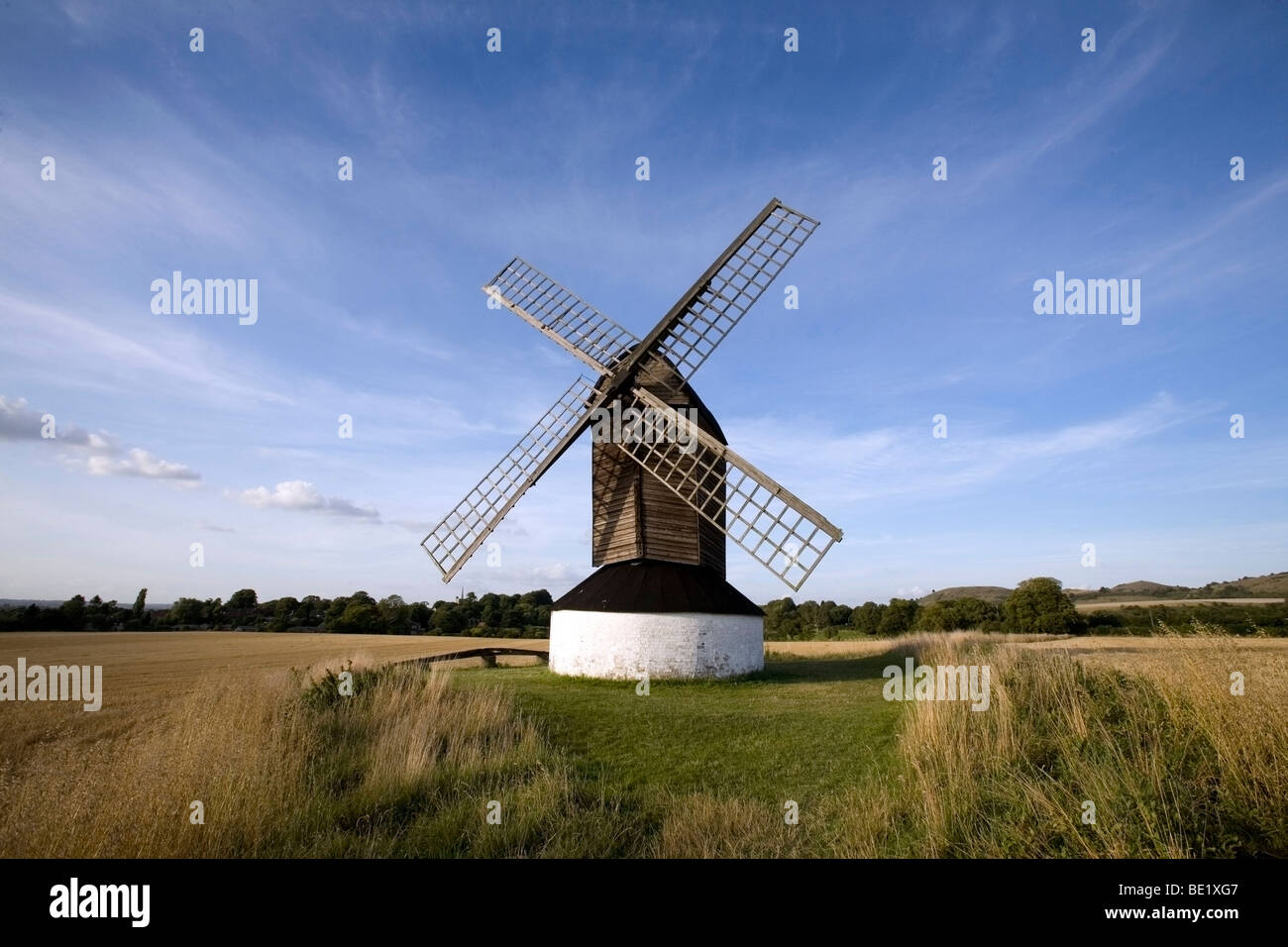 Pitstone Windmill  a National Trust property in a corn field located near Ivinghoe Stock Photo