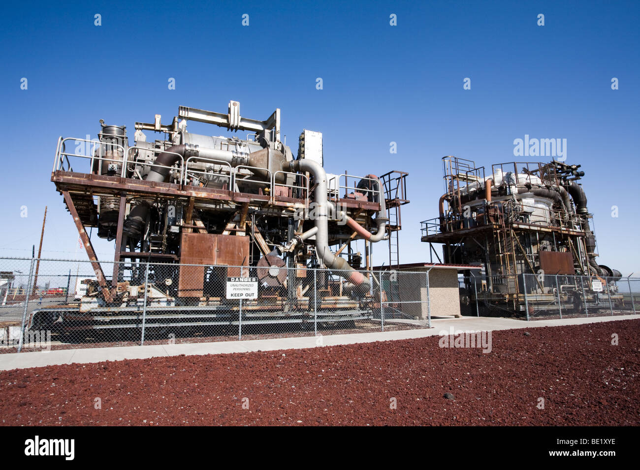Experimental atomic jet engines at Atomic City, Idaho, site of first nuclear power plant in world. - Stock Image