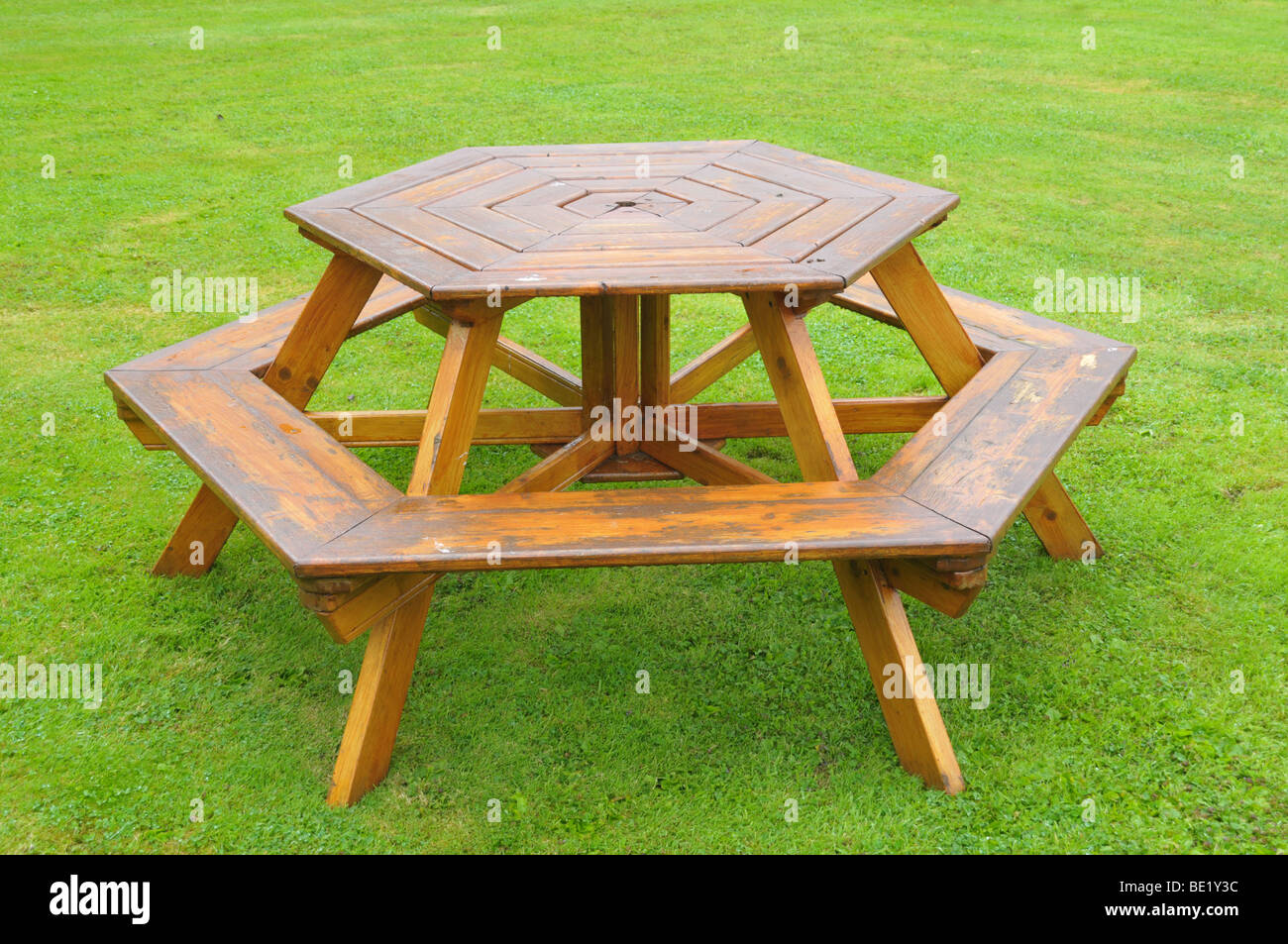 A Circular Sided Picnic Table With Bench Stock Photo Alamy - 6 sided picnic table