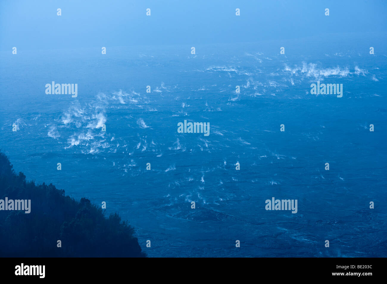 Steam vents on the floor of Kilauea Crater in Volcanoes National Park, Hawaii. - Stock Image