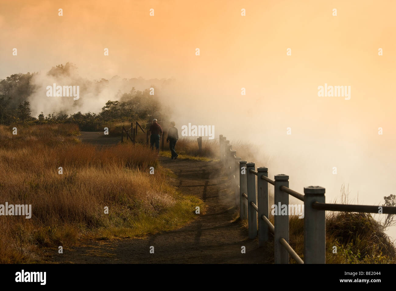 An unidentified couple walk past steam vents at Kilaueau Crater in Volcanoes National Park in Hawaii. - Stock Image