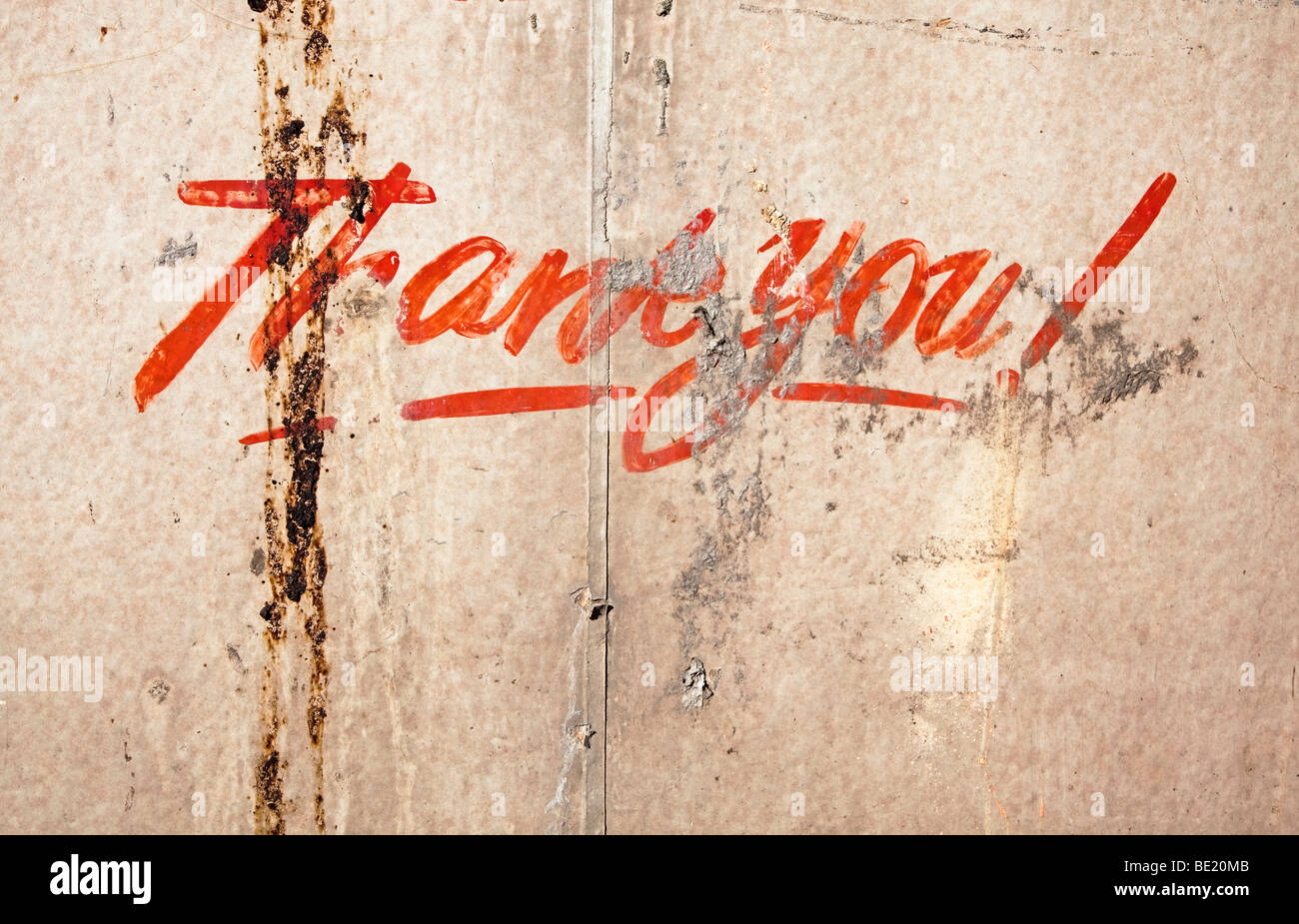 thank you sign painted on wall - Stock Image