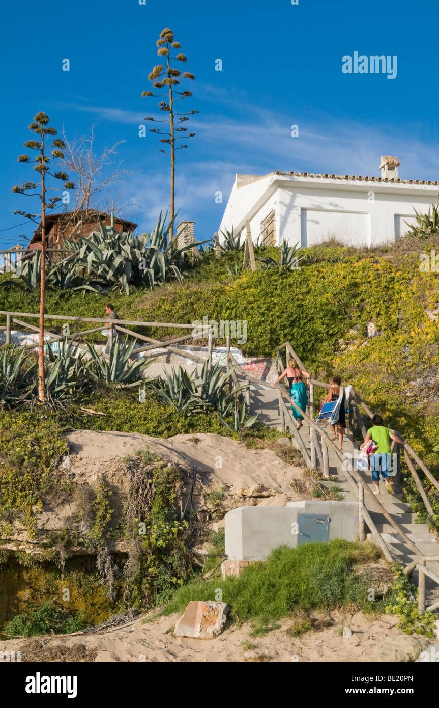 SPAIN. Wealthy houses and villas on the beach at Caños de Meca, near Trafalgar on the Costa de la Luz - Stock Image