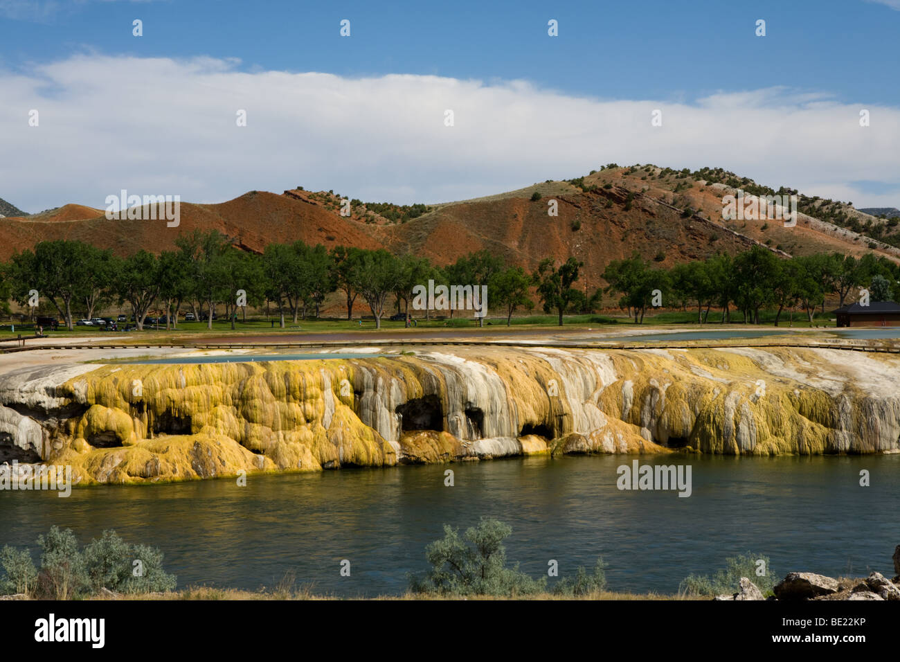 Rainbow terraces, Thermopolis, Wyoming home to largest mineral hot springs in the world - Stock Image