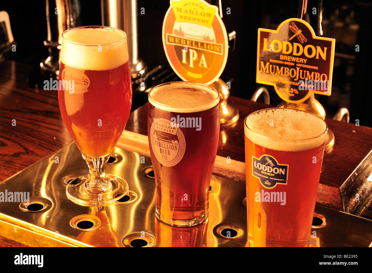 Local brewery beers at the Red Lyon pub, Hurley, Berkshire, UK - Stock Image
