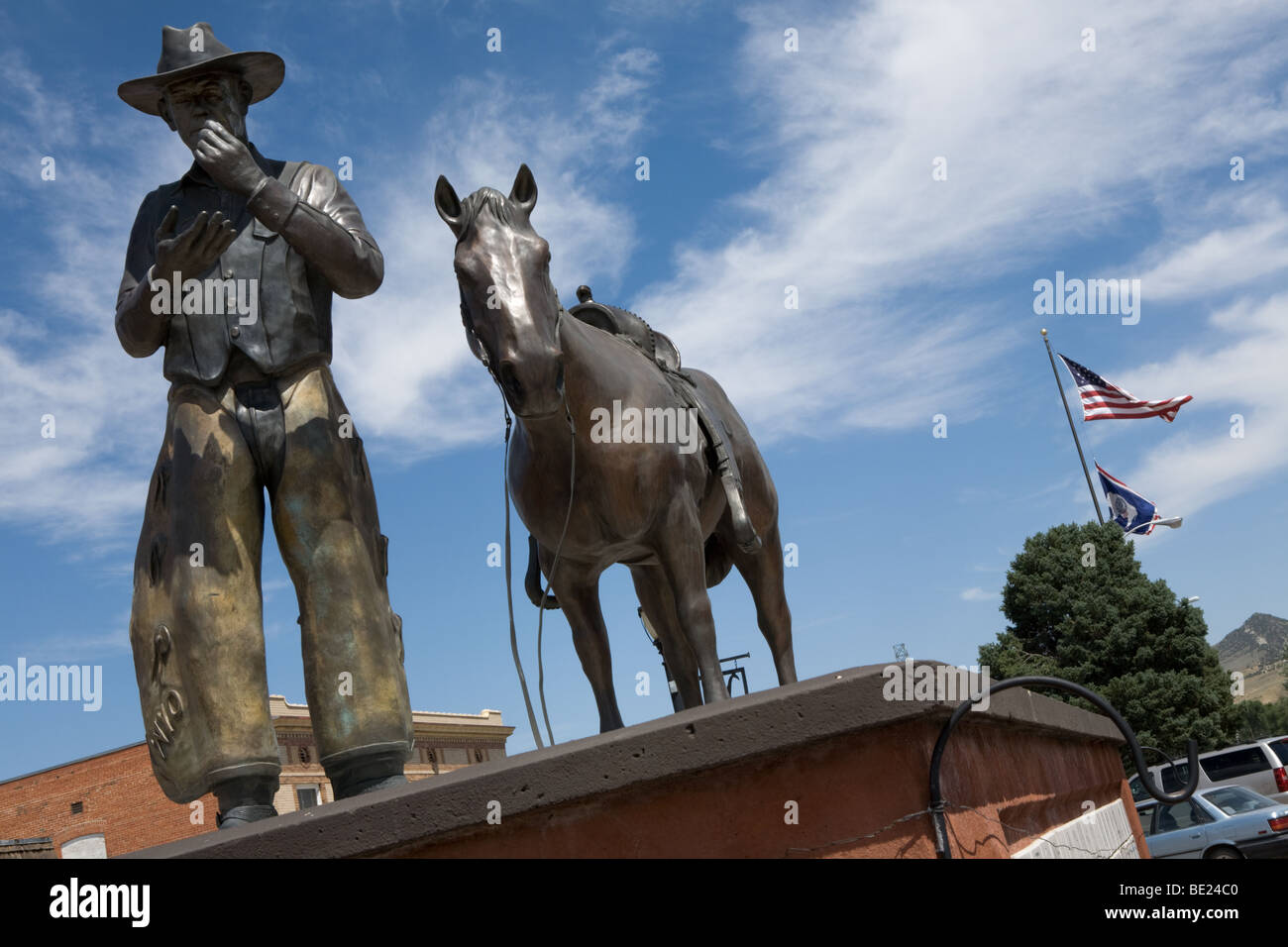 Cowboy and horse bronze downtown Thermopolis, Wyoming Stock Photo