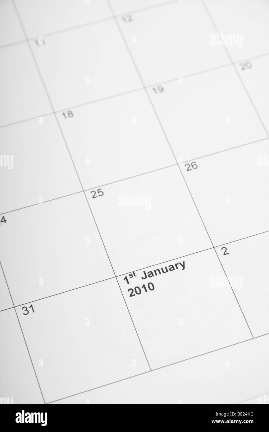 Calendar showing 1st January 2010 - Stock Image