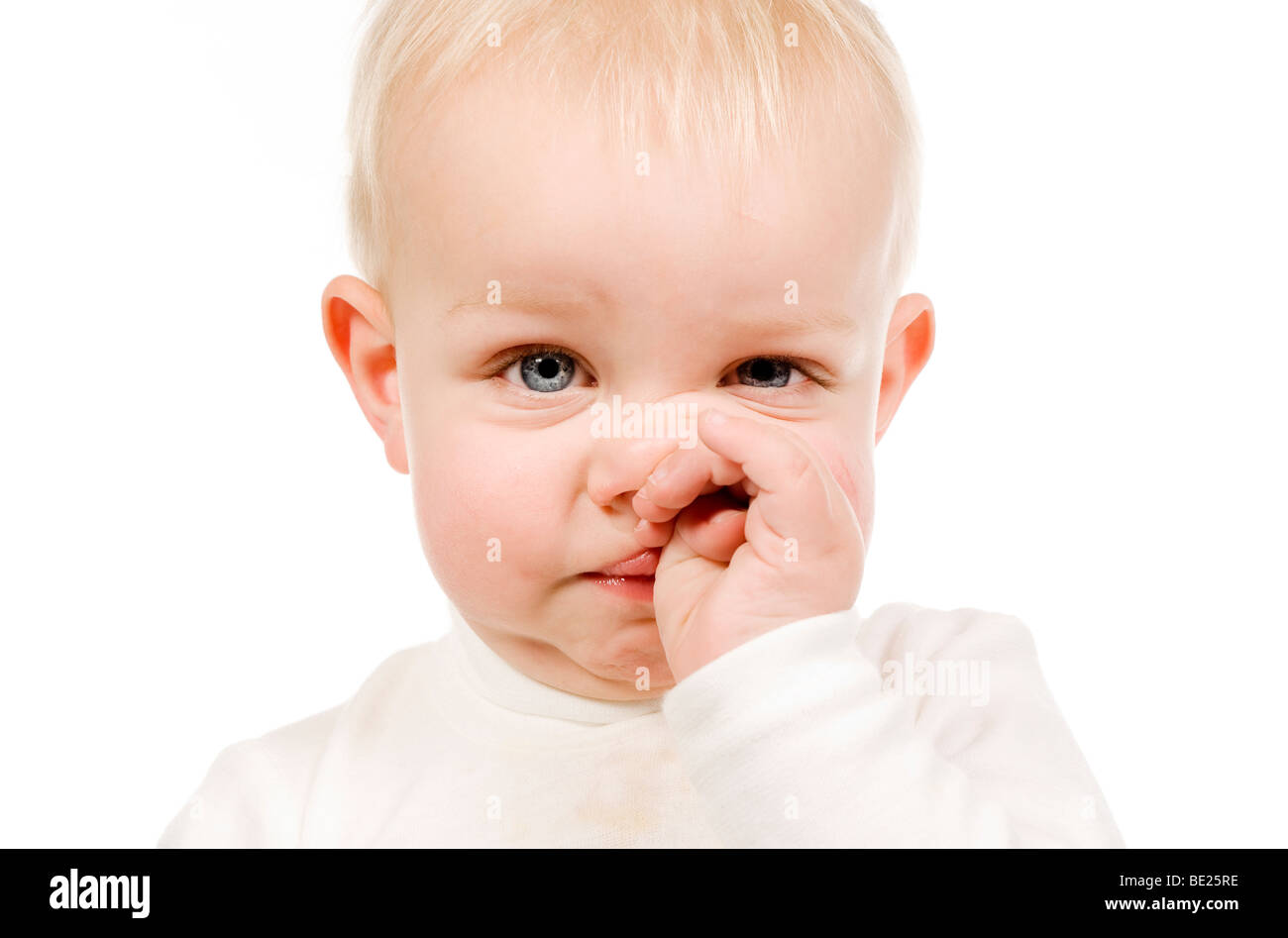 Boy with runny nose - Stock Image