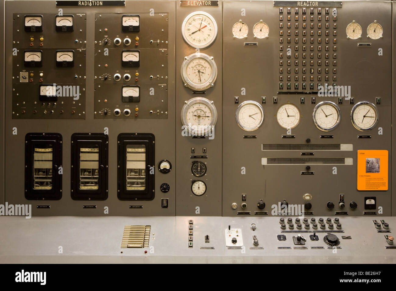 Dials and gauges at EBR1 in Atomic City, Idaho, first nuclear power plant in world. - Stock Image