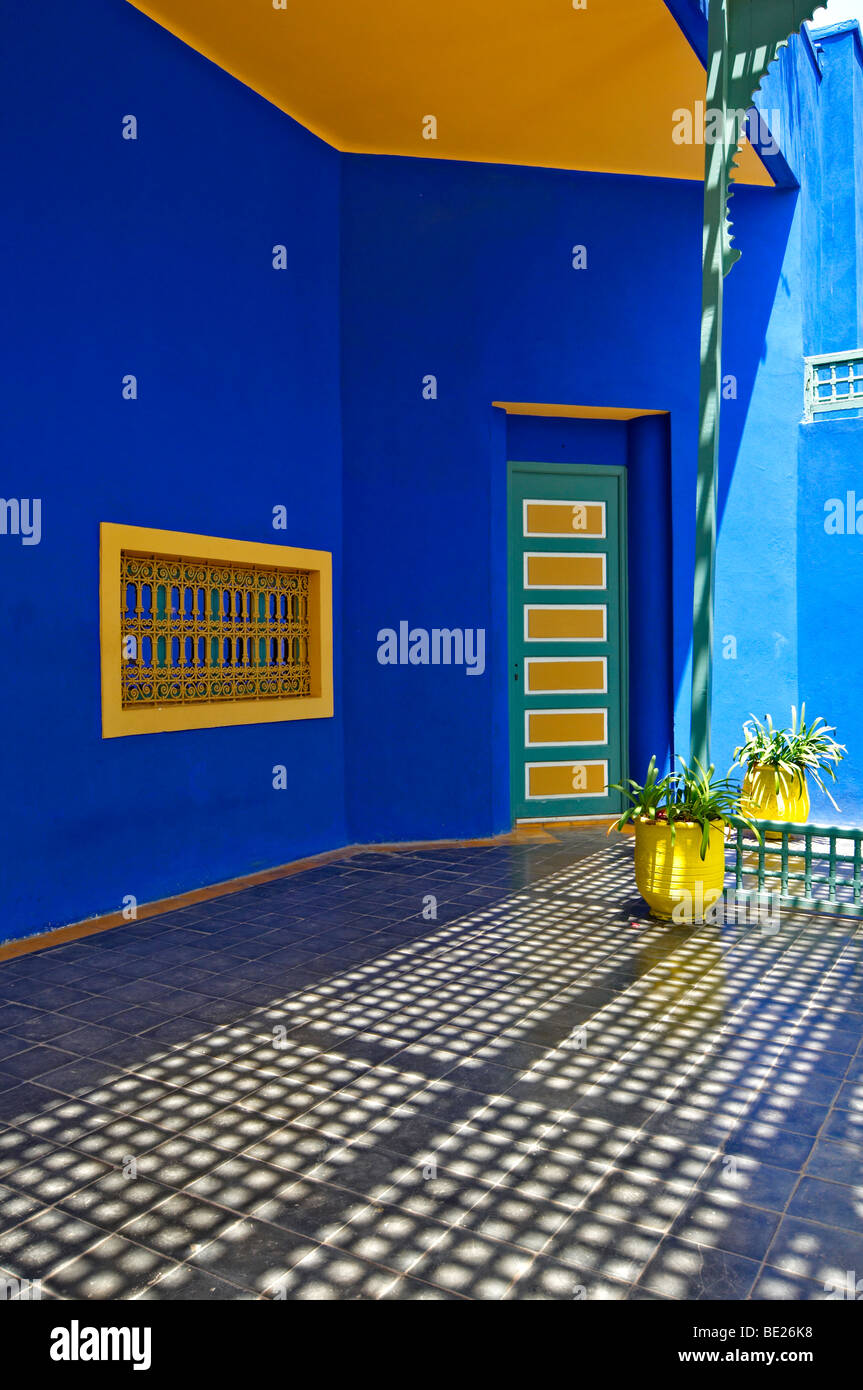 A graphic detail of the old studio of Jacques Majorelle, now the Museum at Jardin Majorelle in Marrakech - Stock Image
