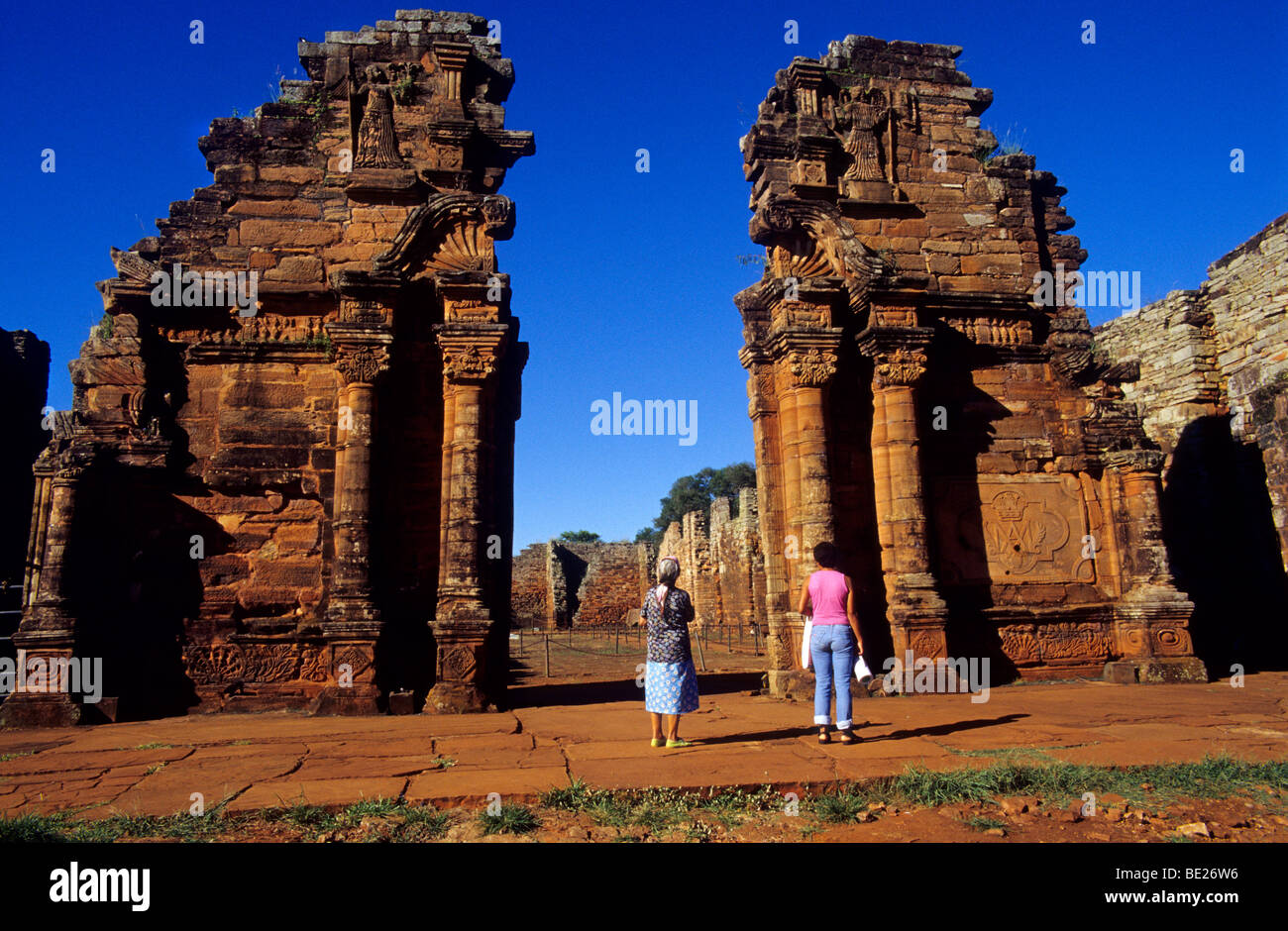 Church gate. Jesuit Mission of San Ignacio Mini ruins. Misiones province. Argentina. - Stock Image