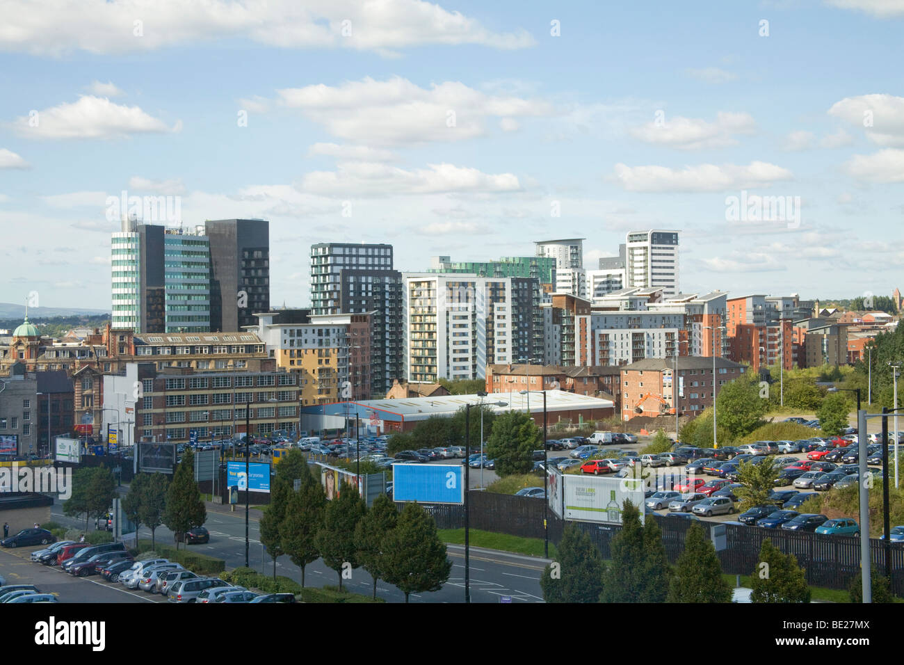 Manchester England UK View across the city skyline of high rise office and apartment buildings - Stock Image