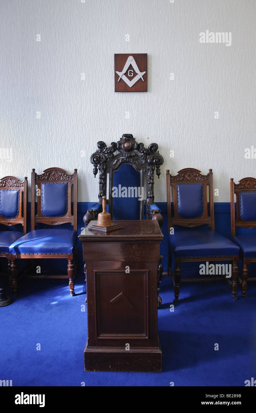 Freemason masonic chair, occupied by the Worshipful Master during lodge meetings Stock Photo