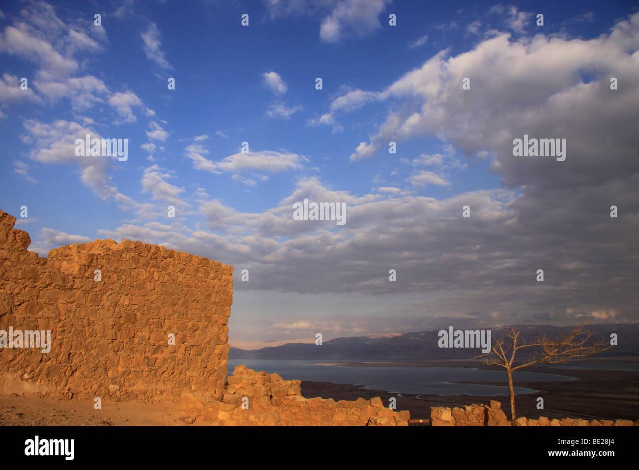 Israel, Judean desert, a view towards the Dead Sea from Masada Stock Photo