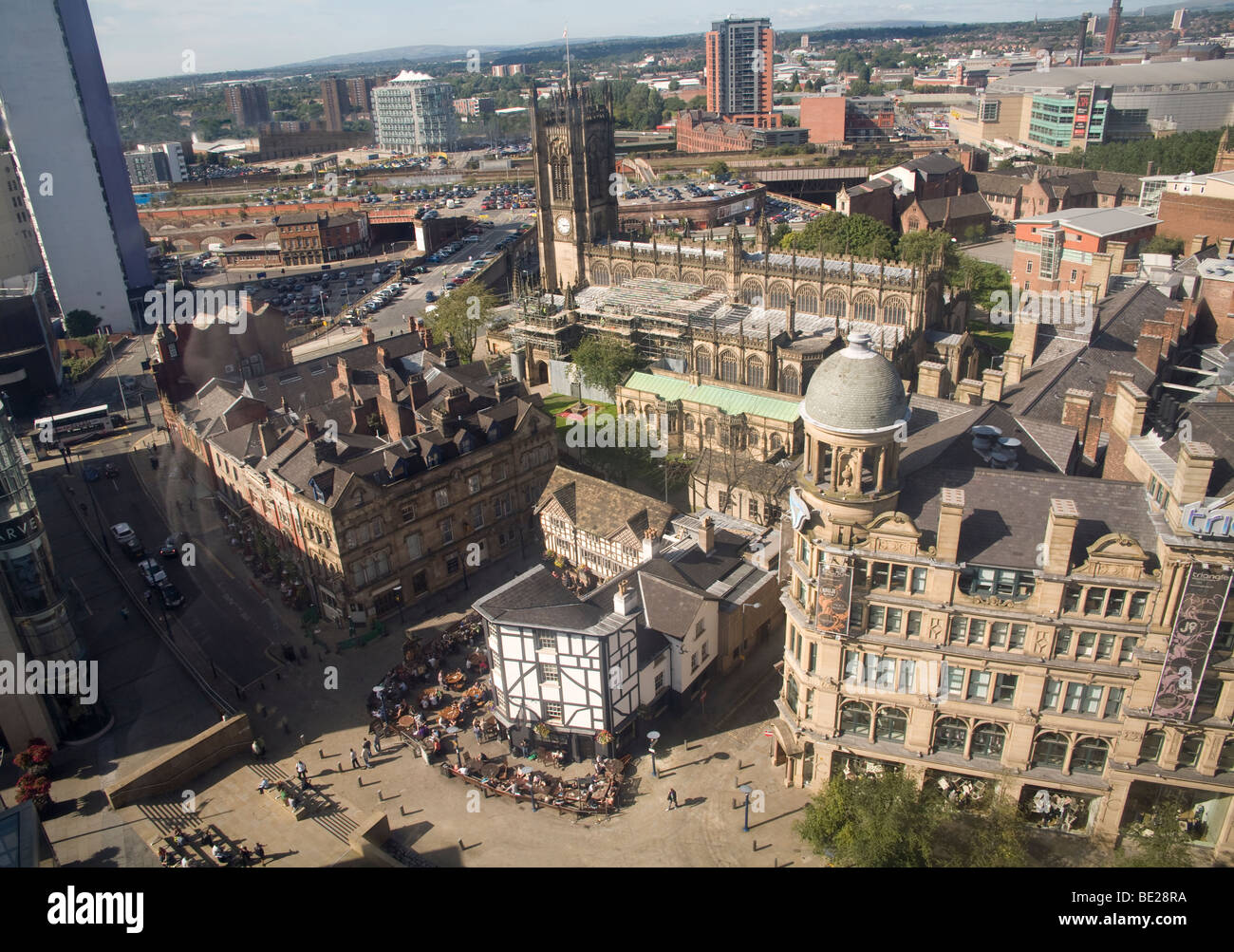 Manchester England UK Looking down on the city centre from a capsule of the MEN Wheel in Exchange Square - Stock Image