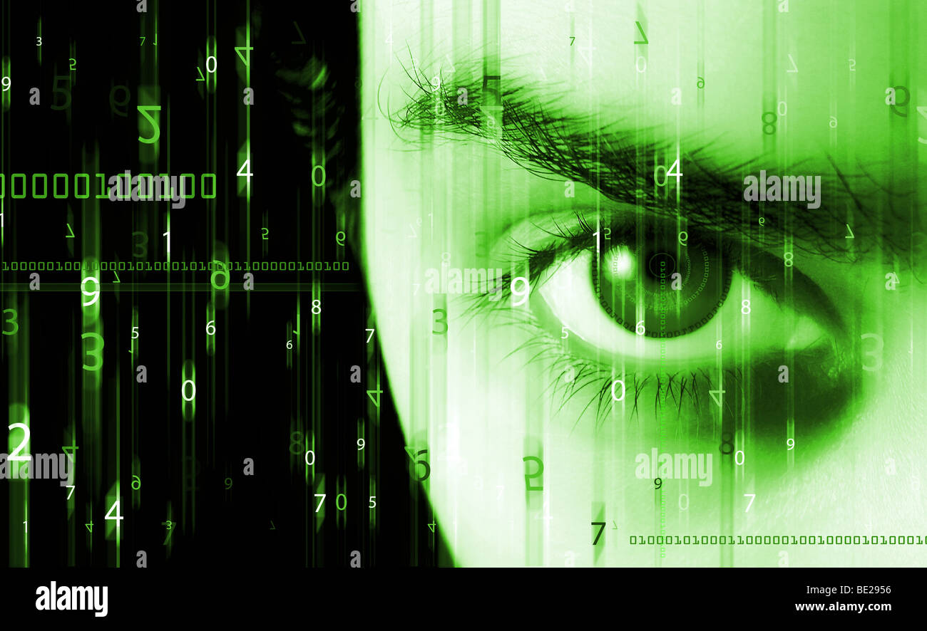 Abstract background with figures in movement and eye - Stock Image