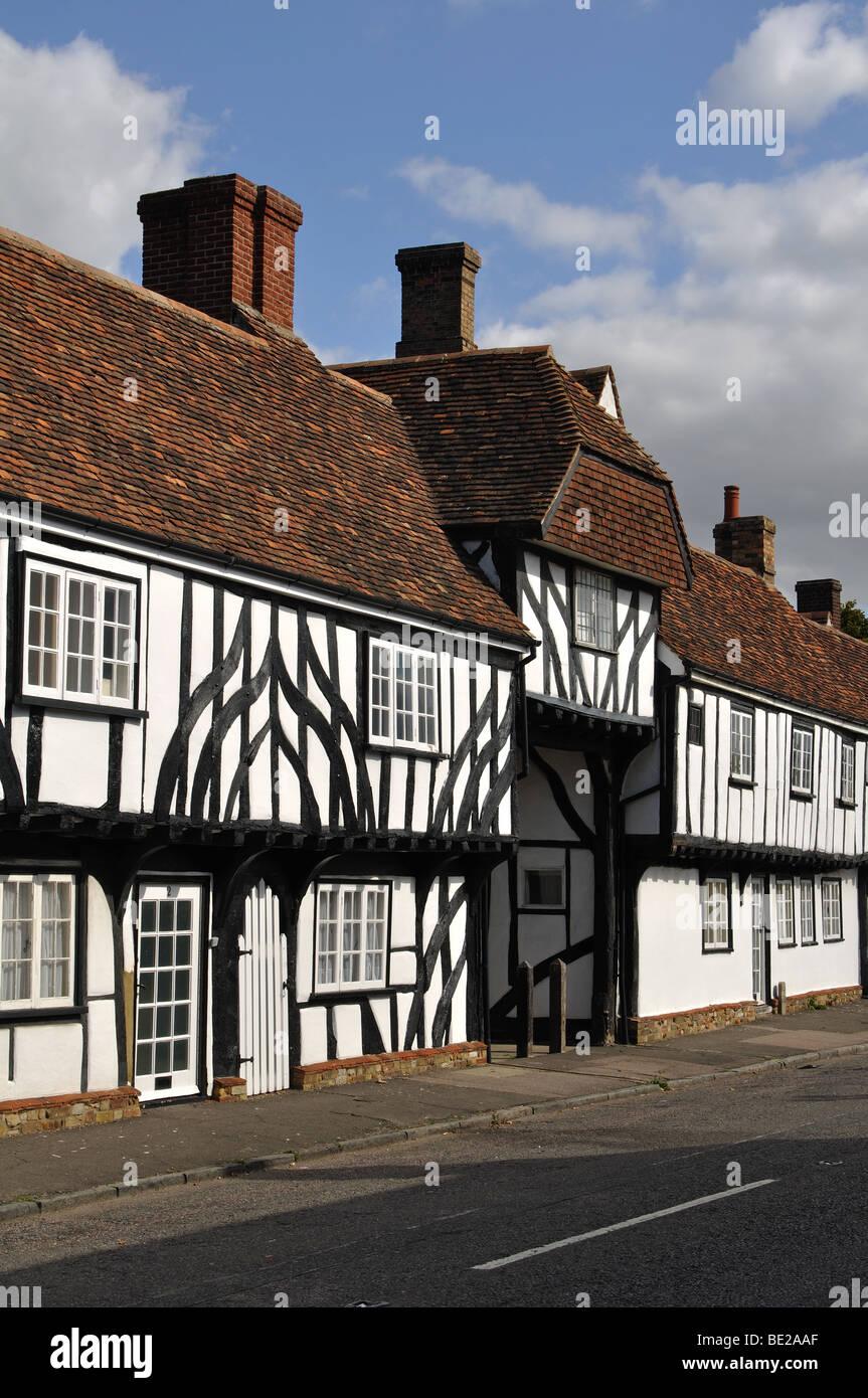 Half timbered buildings, Elstow, Bedfordshire, England, UK - Stock Image